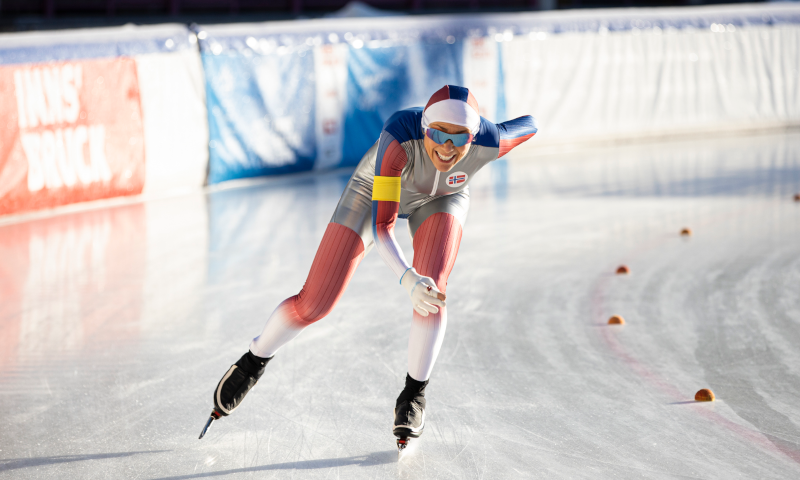 Speed skater during the race.