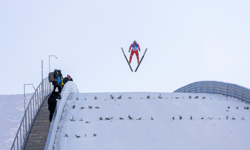 Combiner during ski jumping