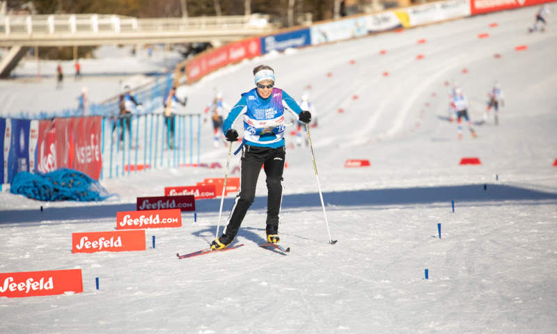 Skiers during the race