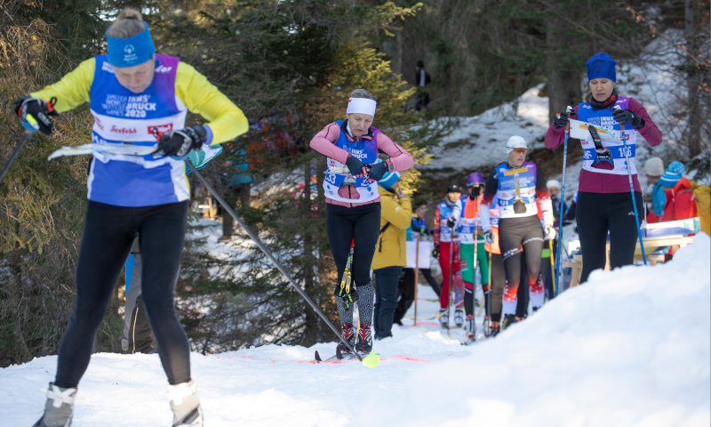 Several ski orienteers during the race